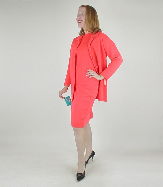 60s Brightest Orange Wool Knit Jacket, Top & Skirt Suit, with Tags M/L