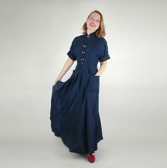 RESERVED 50s Navy Rayon Taffeta Elegant Long Hostess Dress by Maxan M