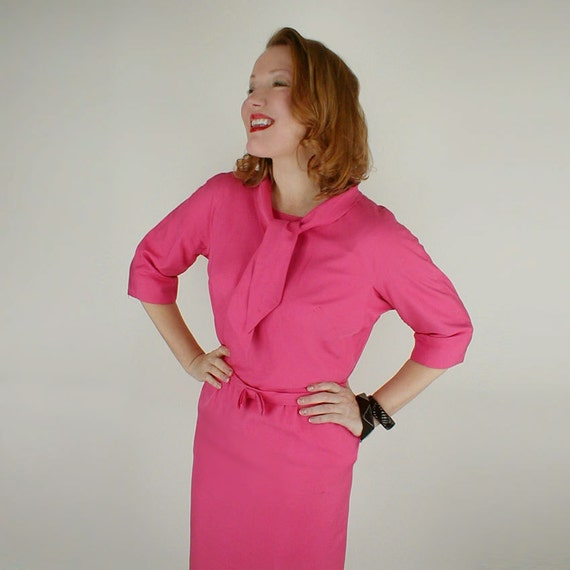 SALE Early 60s Pink Shantung Sheath Dress with Tie Neck and Belt L