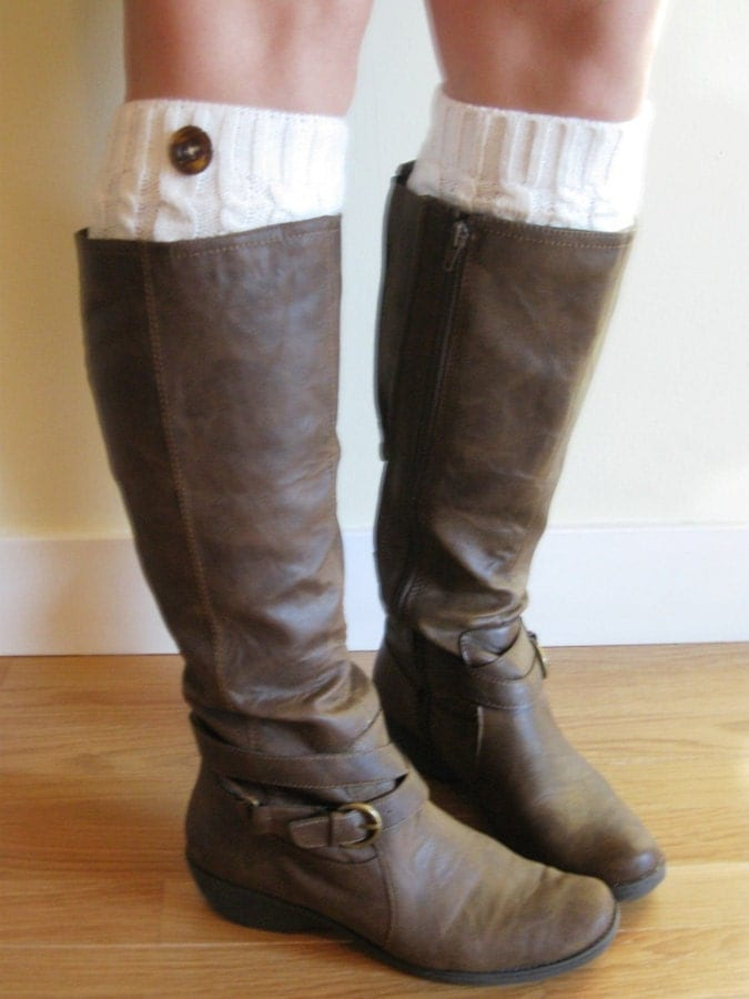 Knitting Pattern For Leg Warmers With Buttons : Cream knit boot socks / legwarmers with button