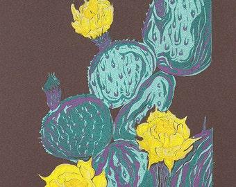 Original Print Art Bright green yellow COLOR WOODCUT Desert Southwest Bloom Cactus Flower