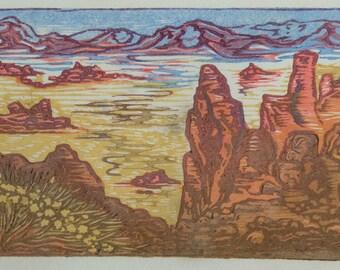 Original Art Color Japanese Woodblock Print Valley of Fire II Southwest Desert Landscape