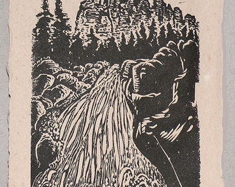 Original Art Woodcut Print Landscape Utah Cedar Breaks Waterfall on Handmade Paper