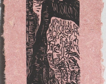 Original Woodcut Print Through the Portal Bryce Canyon National Park Rock Arches on Clay and Fiber Handmade Paper