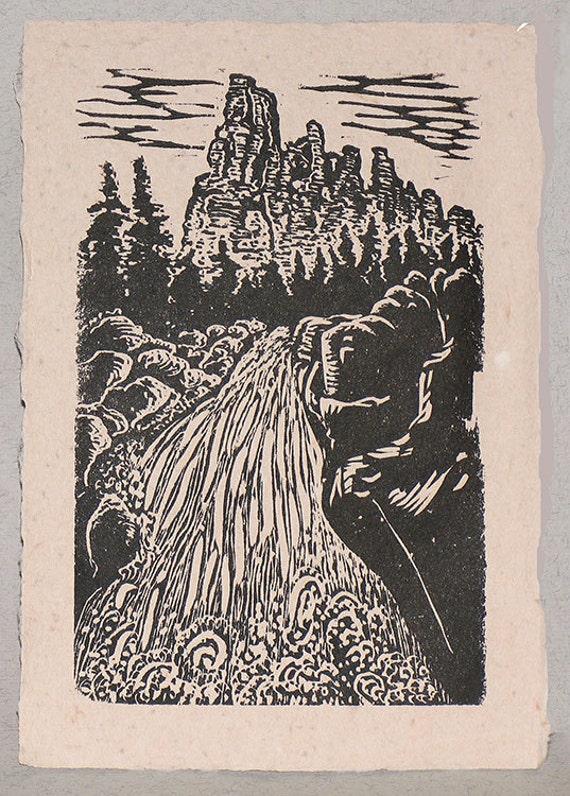 Original Art Woodcut Print Landscape Utah Cedar Breaks Waterfall on Handmade Paper