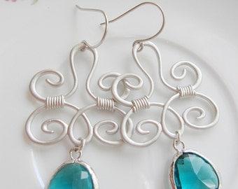 Large Bohemian Silver Earrings, Teal Glass Teardrop, Chandelier Earrings, Silver Pendant, Bridesmaid Earrings
