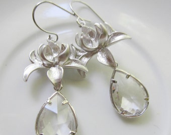 Clear Teardrop Earrings, Silver, Lotus Blossom, Silver Flower, Clear Glass Teardrop, Bridesmaid earrings, Wedding Jewelry, Gardendiva