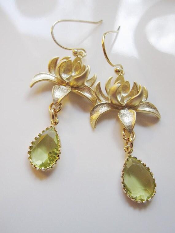 Green Teardrop Earrings, Chandelier, Gold Lotus Blossom, Bridesmaid Jewelry, Wedding Earrings