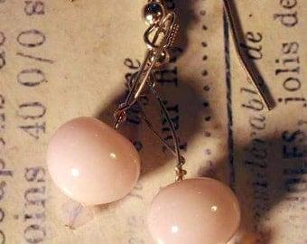 Delicate Pink Glass Earrings