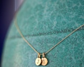 TWO Charm 14k Gold Vermeil Tiny Initial Necklace - Personalized Two Charm Necklace