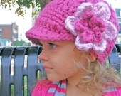 Baby Girl Hat 9 to 12 Month Raspberry Pink Blossom Crochet Flower Hat Flapper Baby Girl Clothes Toddler Girl Hat Toddler Hat Baby Hat Winter