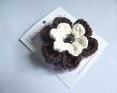 Crochet Flower Hair Clip Flower Barrette Cream Hair Clip Cream Barrette Brown Hair Clip Brown Barrette Lavender Hair Clip Lavender Barrette