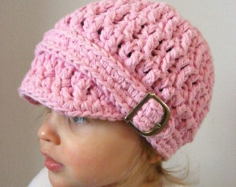 Baby Girl Hat 9 to 12 Month Light Pink Baby Hat Crochet Hat Knit Baby Girl Clothing Baby Girl Clothes Winter Hat Buckle Beanie Visor Hat