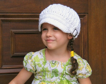 Kids Newsboy Cap 4T to Preteen Girl Newsboy Hat Boy Newsboy Childrens Newsboy Crochet Newsboy White Newsboy Silver Buckle Girls Hat Boys Hat