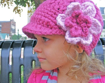 Girls Hat 4T Toddler to Preteen Raspberry Pink Blossom Chunky Crochet Flower Hat Knit Winter Hat Warm Girl Clothes Cozy Girl Clothing
