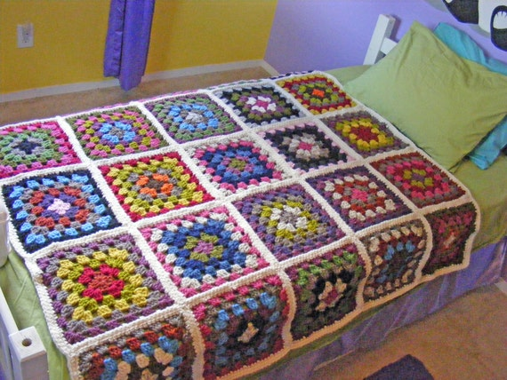 Crochet Granny Square Blanket Twin Blanket Or Full Blanket