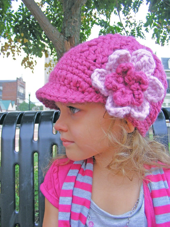 Toddler Girl Hat 2T to 4T Toddler Hat Toddler Girl Clothes Toddler Clothes Crochet Flower Hat Flapper Winter Hat Raspberry Pink Blossom
