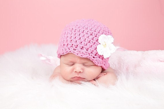 Baby Girl Hat 0 to 3 Month Pink Baby Hat Baby Girl Clothes Baby Girl Beanie Baby Girl Cap Hospital Hat Crochet Flower Hat Spring Photo Prop