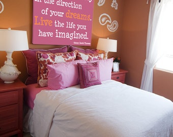 Girls Room Wall Canvas Live the Life, Dreams Pinks, orange and white Wall Decor 24x36