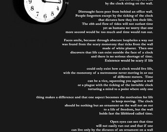 Poetry Wall Art Time Clock Sestina Words on Photograph Literary Room Decor - Time - Poetry and Photography