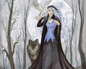 ACEO Print White Witch Woman with Wolf and Owl