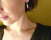 Small Silver Folded Leaf Earrings in Sterling Silver - Dainty Everyday Simple Earrings