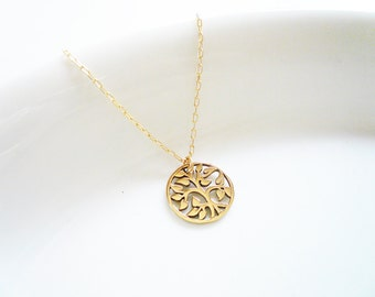 Tree of Life Necklace in Gold Filled and Natural Brass, Gold Pendant Necklace