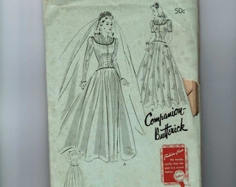 1940s Vintage Sewing Pattern Butterick 1437 Wedding Dress Bride Bridal Dinner Gown Long Full Length Long Sleeve Modest Size 12 Bust 30 40s