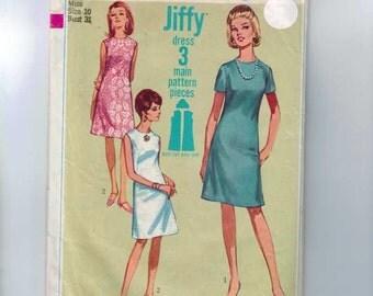 1960s Vintage Sewing Pattern Simplicity 7072 Jiffy Sheath Dress Size 10 Bust 31 1967