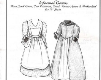 Doll Sewing Pattern 18th Century Style 18 Inch Informal Gowns Past Crafts Colonial American UNCUT