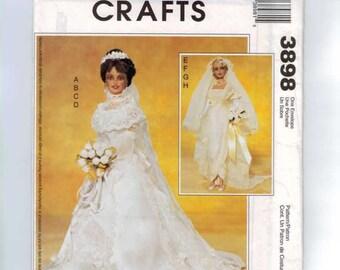 Doll Sewing Pattern McCalls 3898 11 1/2 Inch Barbie Sized 20th Century Bridal Gown Wedding Dress UNCUT