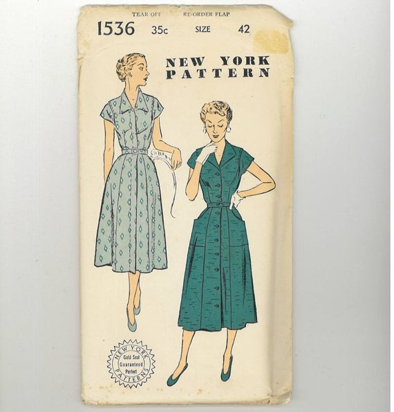 1950s Vintage Sewing Pattern New York 1536 Plus Size Shirt Dress Bust 42 UNCUT 50s