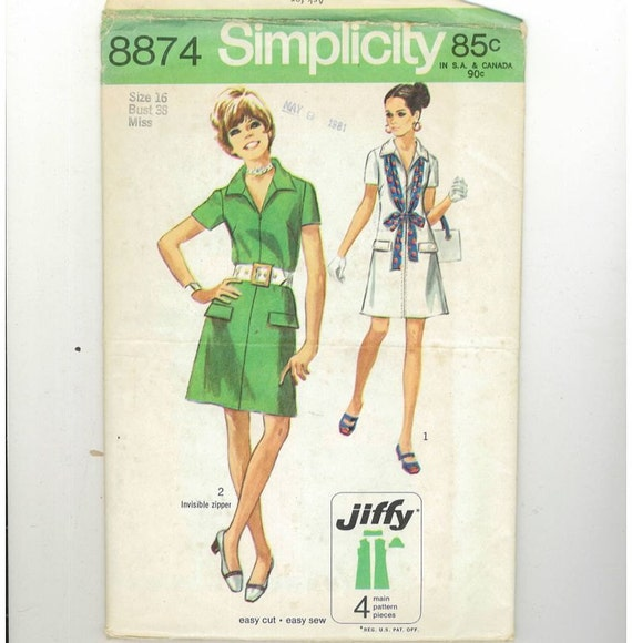 1970s Vintage Sewing Pattern Simplicity 8874 A line Jiffy Easy Dress Collar Size 16 Bust 38 UNCUT 70s 70
