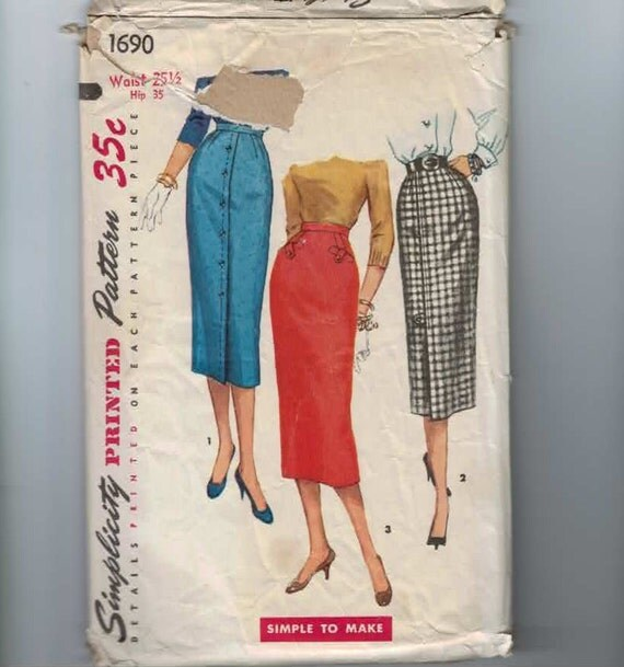 1950s Vintage Sewing Pattern Simplicity 1690 Pencil Skirt Size 12 Bust 30 INCOMPLETE