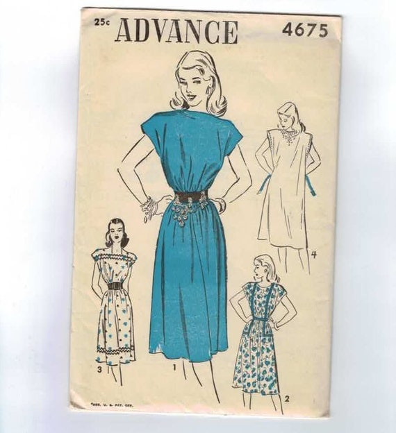 1940s Vintage Sewing Pattern Advance 4675 Belted Dress Size 10-18 Bust 28 30 32 34 36 UNCUT