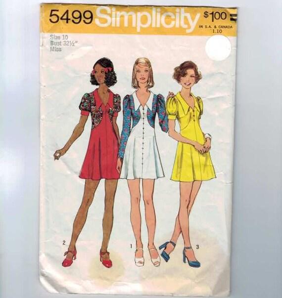 1970s Vintage Sewing Pattern Simplicity 5499 Mod Mini Dress High Waist Size 10 Bust 32 1/2 1973 70s