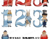 Alice In Wonderland Number Set...4 Separate Digital Collage Sheets