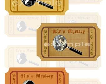 It's A Mystery- Sherlock Holmes Tickets Digital Collage Sheet