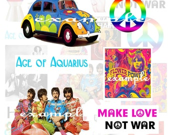 1960's...Beatles...Peace...Age of Aquarius...Hippies...Digital Collage Sheet - Scrapbook, Card, ATC, ACEO, Embellishment, Tag