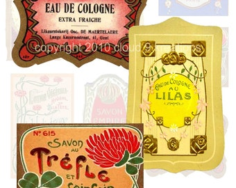 French Perfume Labels Digital Collage Sheet 2
