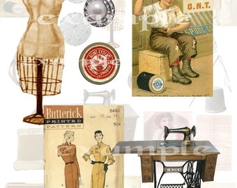 Vintage Sewing Digital Collage Sheet 1