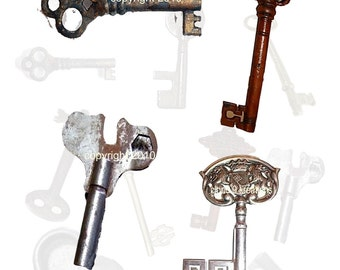 Keys Digital Collage Sheet