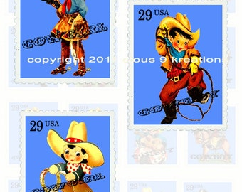 Lil Cowboys And Cowgirls Stamps...Digital Collage Sheet