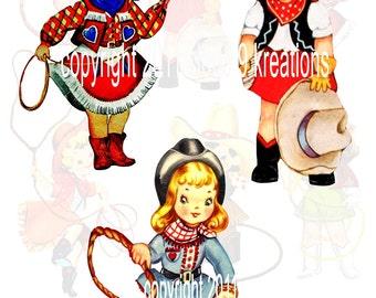 Lil Cowgirls...Western...Digital Collage Sheet