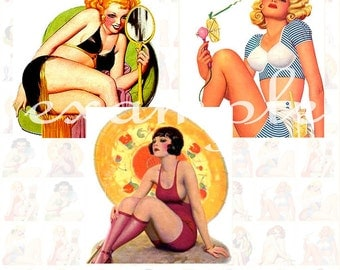 Vintage Film Pinups Inchies...1X1 Inch...Digital Collage Sheet