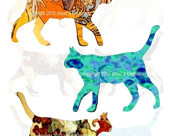 Cats...Altered Art...Digital Collage Sheet
