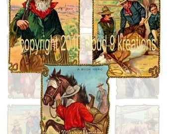 Western Cowboy Art...Digital Collage Sheet 1