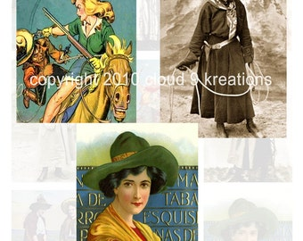 Vintage Cowgirls Digital Collage Sheet 7...Western
