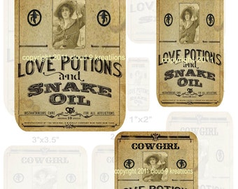 Cowgirl Love Potion and Snake Oil Labels...Altered Art...Digital Collage Sheet - 1x1, 1x2,  2.5x3.5,  3x3.5,  3.5x3.5,  2.5x4.5 & 4x6 In