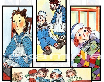 Johnny Gruelle Raggedy Ann & Andy 1X3 Inch Digital Collage Sheet - Microscope Slides...Dominos...Scrapbooks..Cards...Tags